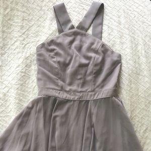 Lulus Forevermore Grey Skater Dress